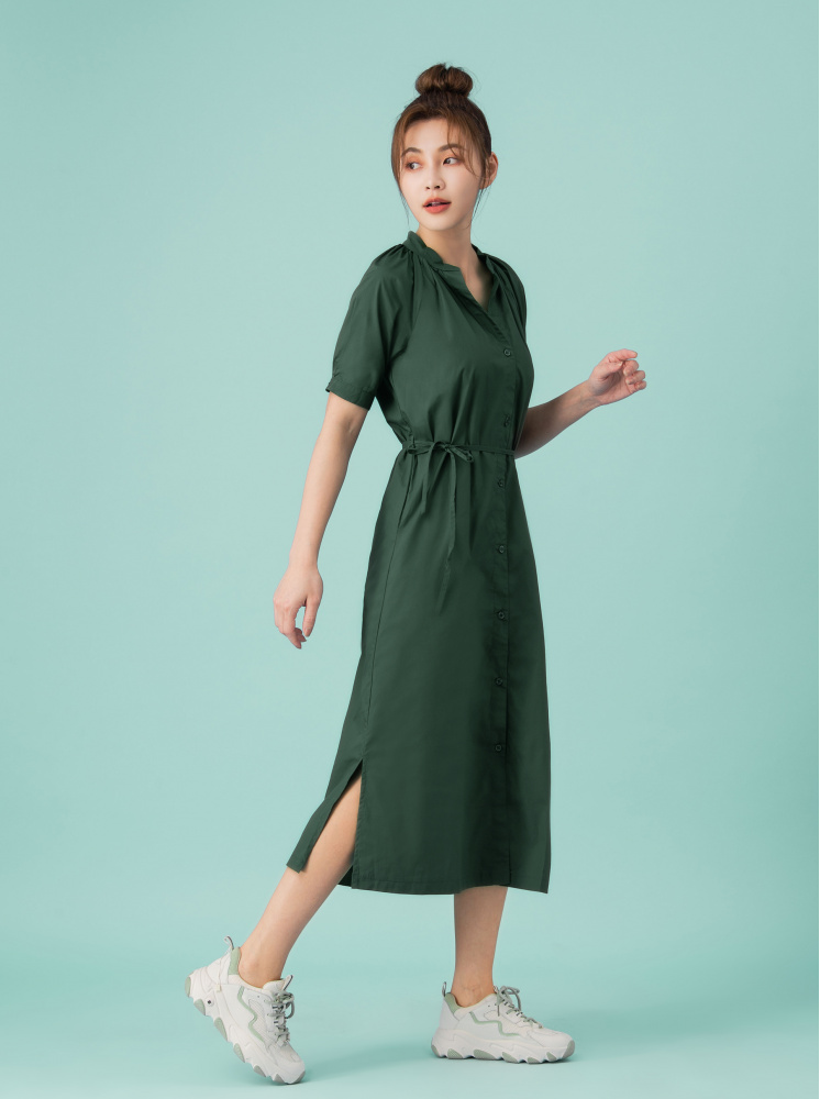純棉綁繩洋裝-綠