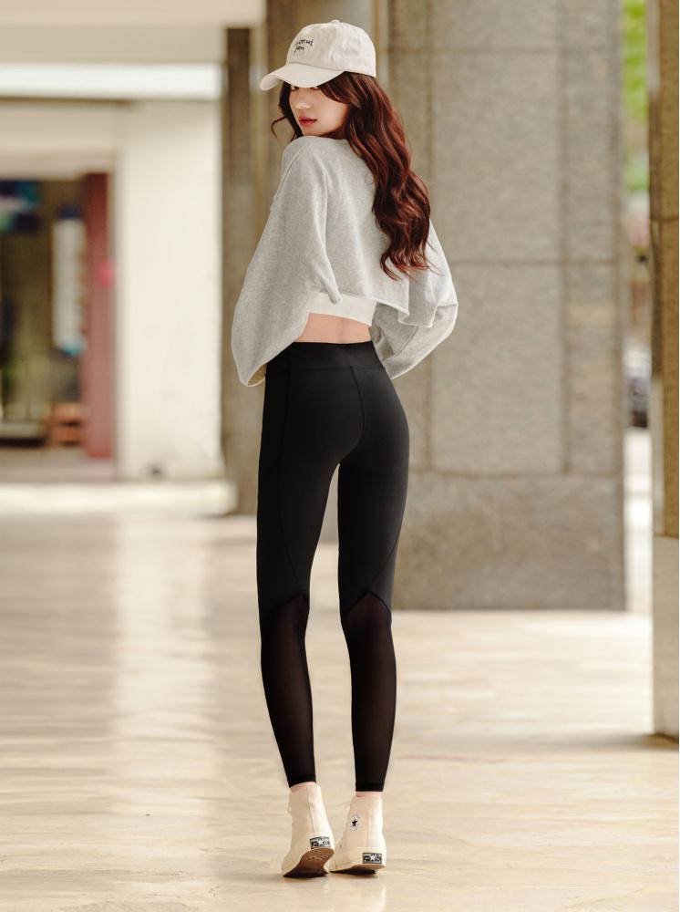 極瘦超彈肌理褲(中腰)-黑