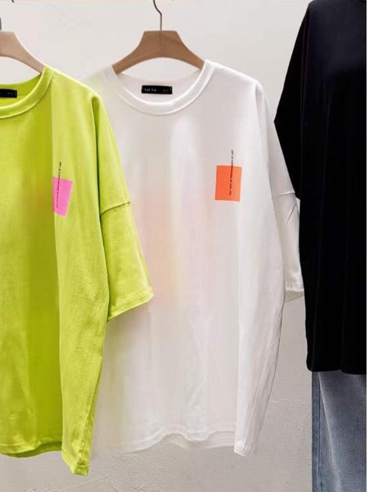 【正韓】色塊T恤-白