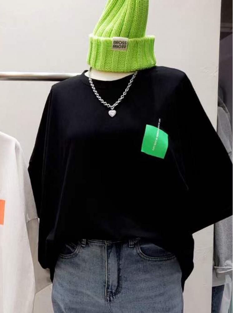 【正韓】色塊T恤-黑