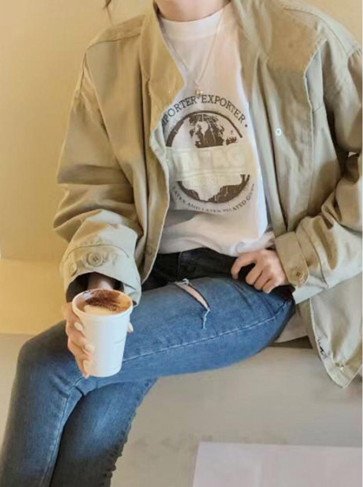 【正韓】地球帥氣T恤-灰藍