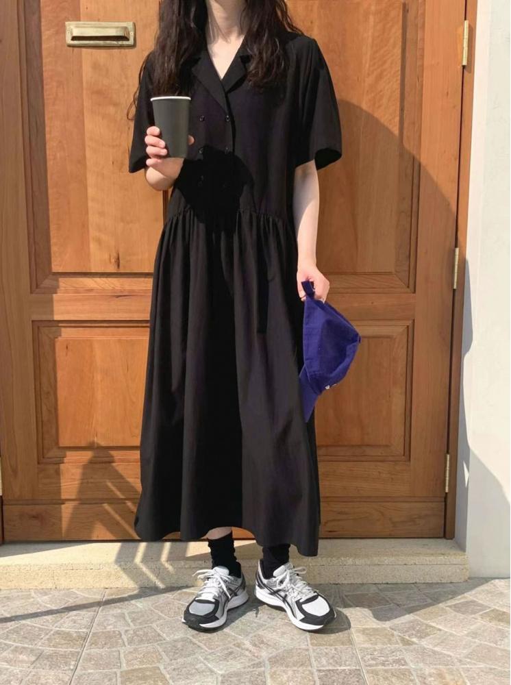 【正韓】雙排釦洋裝-黑
