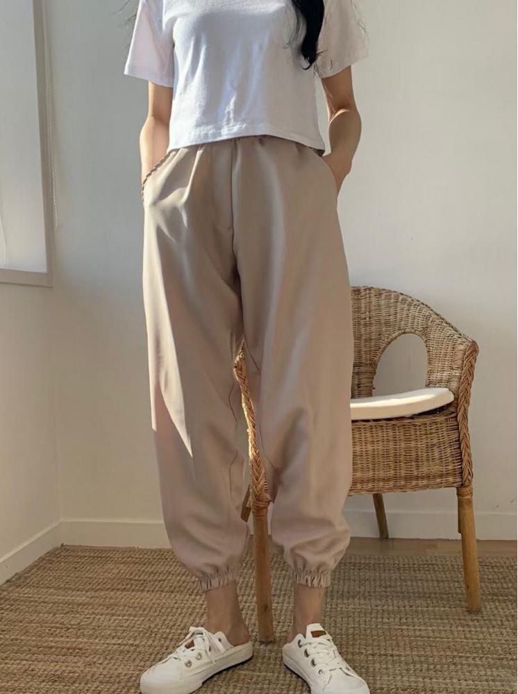 【正韓】男友鬆緊縮口褲-卡其(斷貨)