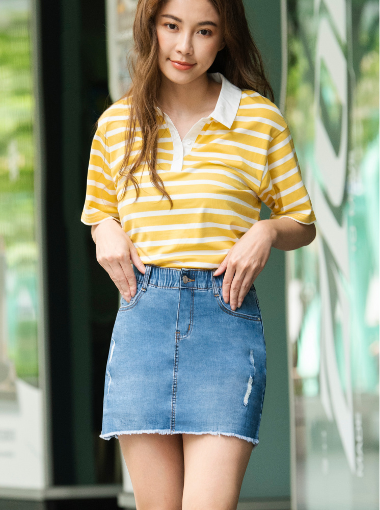 復古寬鬆條紋襯衫領上衣-黃