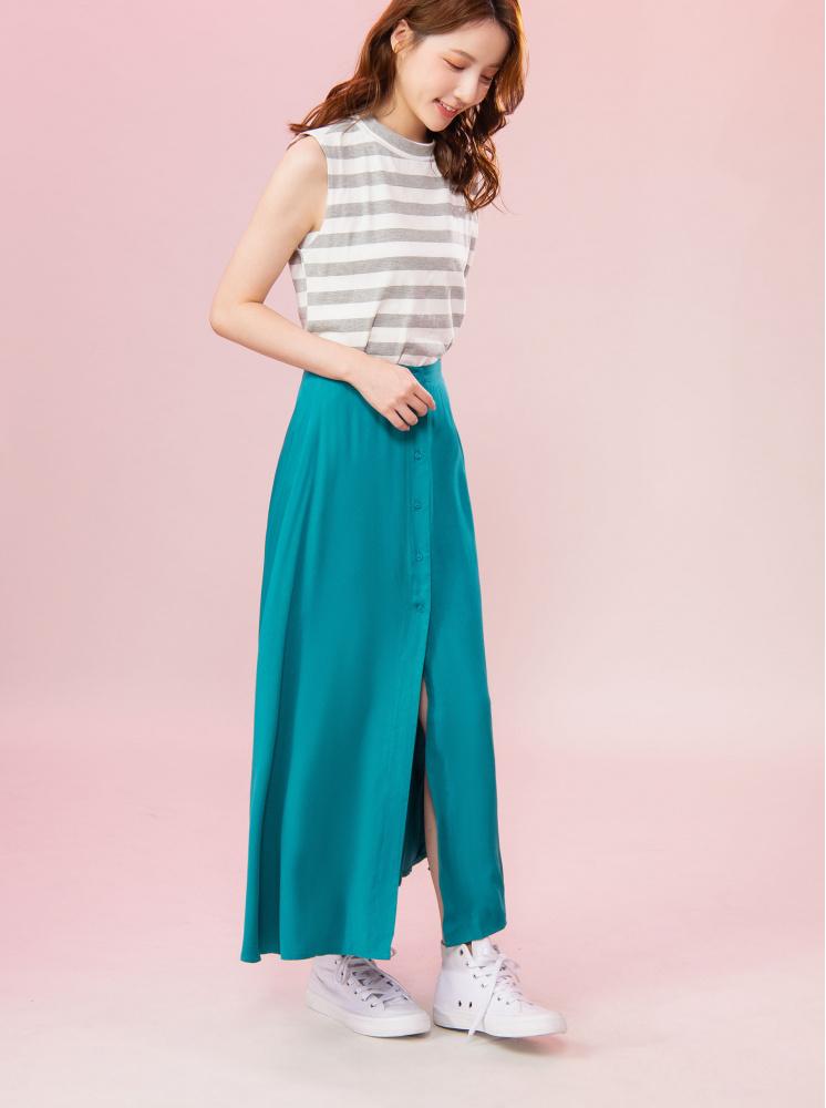 垂墜親膚長裙-藍綠